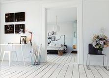现代的卧室 库存照片