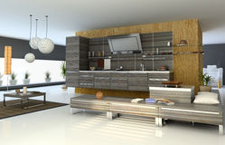 现代的厨房 库存例证