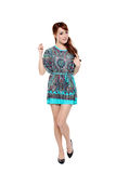 现代礼服的美丽的时装模特儿亚裔女孩 免版税库存图片