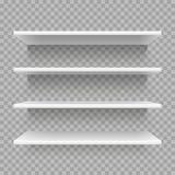 现代空的3d书架 在墙壁上的零售店架子 与阴影传染媒介集合的白色架子 向量例证