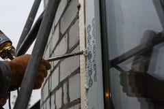 现代窗口的设施由PVC外形做成 免版税库存图片