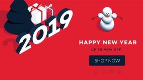 现代等量新年快乐背景 2019年礼品券的传染媒介模板,增进网页,销售广告牌 免版税库存照片