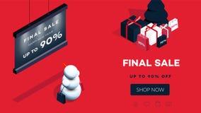现代等量新年快乐背景 2019年礼品券的传染媒介模板,增进网页,销售广告牌 皇族释放例证