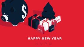 现代等量新年快乐背景 2019年礼品券的传染媒介模板,增进网页,销售广告牌 免版税库存图片