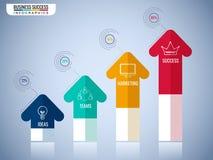 现代箭头infographics元素 对成功企业概念infographic模板的步 能为工作流布局使用 皇族释放例证