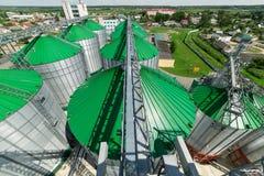 现代粮仓,与一个绿色屋顶的金属筒仓 库存图片