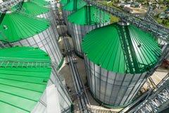 现代粮仓,与一个绿色屋顶的金属筒仓 免版税库存照片