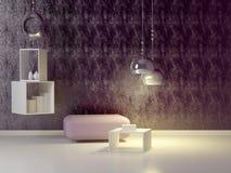 现代紫罗兰色休息室内部装饰业。 库存照片