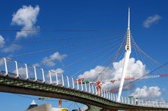 现代绳索吊桥 库存照片