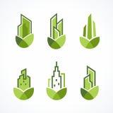 现代绿色房地产商标集合 向量例证