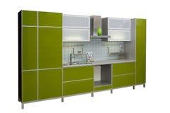 现代绿色的厨房 库存照片