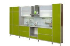 现代绿色的厨房 免版税库存照片