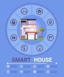 现代聪明的家庭控制技术Infographic元素横幅象模板 库存例证