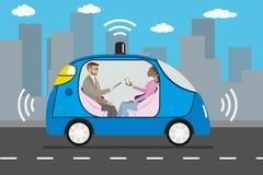 现代自驾驶的汽车的,城市道路,未来派technolog人们 库存例证