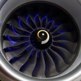 现代航空器涡轮风扇引擎的爱好者 免版税图库摄影