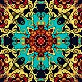 现代艺术抽象几何  神秘的东部坛场 花卉万花筒传统设计 荧光的对称backgro 皇族释放例证