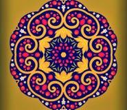 现代艺术抽象几何  神秘的东部坛场 花卉万花筒传统设计 荧光的对称backgro 库存照片