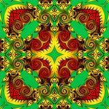 现代艺术抽象几何  神秘的东部坛场 花卉万花筒传统设计 荧光的对称backgro 库存例证
