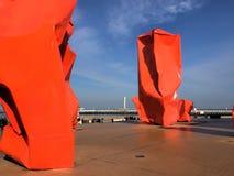现代艺术雕塑在奥斯坦德 免版税库存图片
