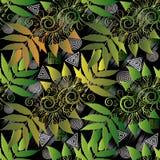 现代花卉无缝的样式 抽象几何背景il 库存图片