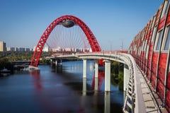 现代莫斯科桥梁 库存照片