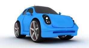 现代蓝色汽车的动画片 图库摄影