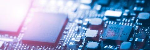 现代蓝色电路板背景横幅 免版税库存照片