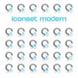 现代蓝色的iconset 图库摄影