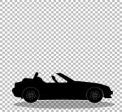 现代被打开的动画片敞蓬车汽车黑剪影  库存例证