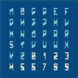 现代装饰字体 狭窄的几何样式字母表信件 向量例证