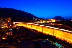 现代设拉子在晚上,伊朗一张鸟瞰图  免版税图库摄影