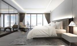 现代豪华卧室和都市风景视图室内设计  免版税库存照片