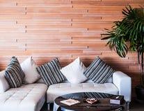 现代豪华木墙壁装饰和白革沙发coac 图库摄影