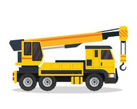 现代起重机卡车平的建筑车例证 皇族释放例证