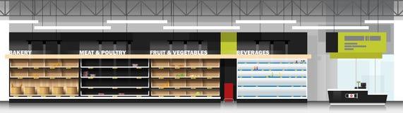 现代超级市场内部场面有空的架子和出纳员柜台的 皇族释放例证