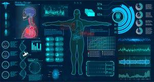 现代身体检查HUD样式 库存例证