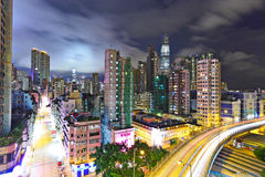 现代都市横向在晚上 图库摄影