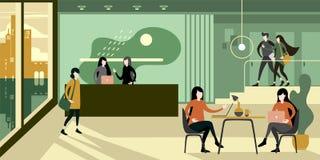 现代都市eco绿色办公室招待会内部 向量例证
