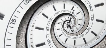 现代金刚石白色报时表钟针扭转了对超现实的螺旋 抽象螺旋分数维 手表时钟摘要纹理patt 库存照片