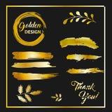 现代金黄刷子设计,传染媒介 免版税库存图片