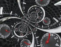 现代银色黑时尚报时表红色钟针扭转了对超现实的时间螺旋 超现实主义时钟黑色报时表abstrac 免版税库存照片