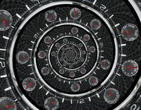现代银色黑时尚报时表红色钟针扭转了对超现实的时间螺旋 超现实主义时钟黑色报时表abstrac 库存图片