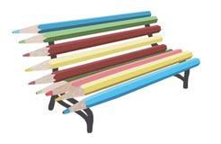 现代长凳由铅笔制成 图库摄影