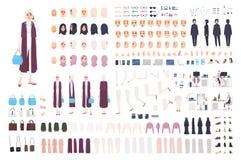现代阿拉伯女商人建设者或创作成套工具 捆绑女性办公室工作者身体局部,表情 皇族释放例证