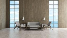 现代顶楼内部客厅木地板沙发集合和chiar木墙壁窗口海视图夏天3d翻译 皇族释放例证