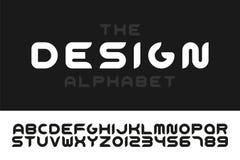 现代风格化字体-传染媒介minimalistic设计 时髦英语字母表-创造性的拉丁字母和数字 库存例证