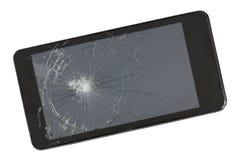 现代黑电话一个残破的屏幕  这个设备被抹了fr 图库摄影