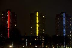 现代,五颜六色的高城市生存塔 免版税库存图片