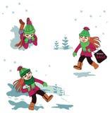 现代,愉快的女孩在冬天森林里 皇族释放例证