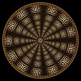 现代3d几何希腊传染媒介圆的坛场样式 装饰物织地不很细抽象背景 表面充满活力的辐形纹理 库存例证